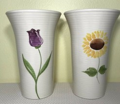 Flower Vase Sunflower Tulip Vase 8.5 Inches Tall Ivory LOT of 2 - $48.61