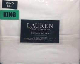 Ralph Lauren Dunham Sateen 100% Cotton 300TC 4pc White Sheet Set - King - $89.09