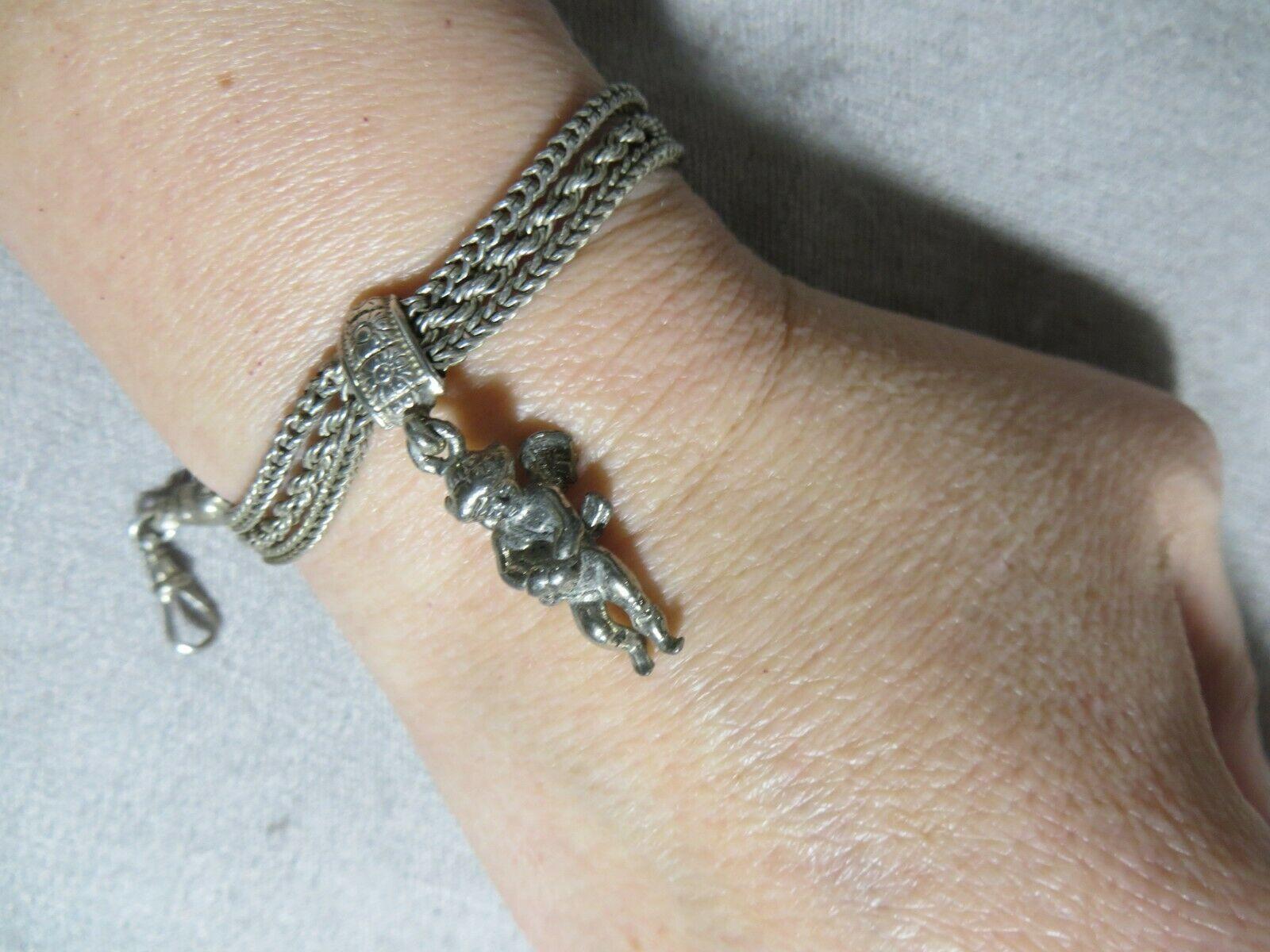 "Ant.Victorian Silver Triple Chains Bracelet w/Cherub Angel Charm Hook Closer 7"""