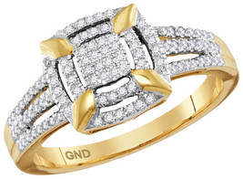 10kt Yellow Gold Womens Round Diamond Square Frame Cluster Ring 1/4 Cttw - $258.77