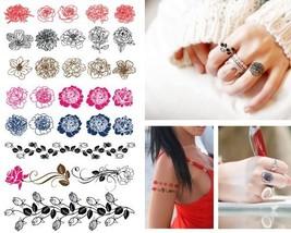 Supperb Temporary Tattoos - Sexy Finger Flower Tiny Rose Outline Tattoos - $7.07