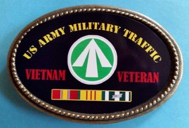 Vietnam Veteran Us Army Military Traffic Epoxy Belt Buckle - New - $16.78