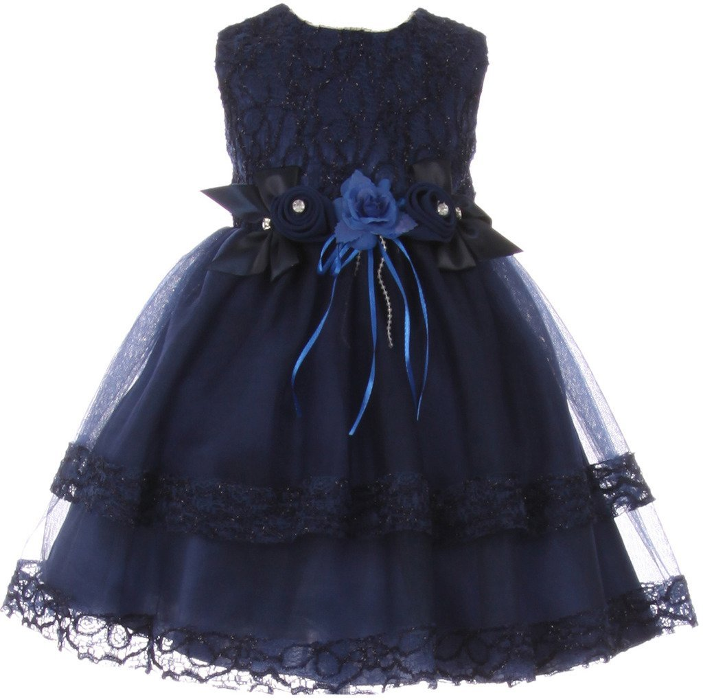Baby Flower Girl Dress Lace Doubled Tulle Dress Lace Trim