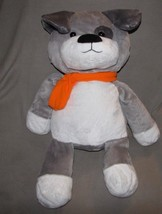 "2017 ANIMAL ADVENTURE STUFFED PLUSH PUPPY DOG GRAY ORANGE SCARF 19"" 27"" ... - $75.23"
