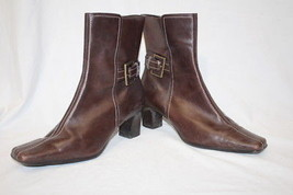 ANNE KLEIN Brown Leather Ankle Boots W/Silver Buckle Decor Womens 10M-B18 - $39.99
