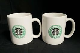 2 Starbucks 2004 Ceramic 2-sided Green with Black Mermaid Logo 12oz Coffee Mugs - $10.79