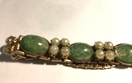 Jade and pearl costume jewelry bracelet - $20.00
