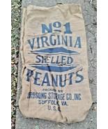 Vintage No. 1 Virginia shelled peanut burlap bag / gunny sack suffolk Va. - £16.98 GBP