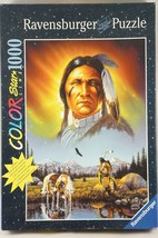Ravensburger 1000 Piece Puzzle Chief Eagle Feather Color Star Line Glows... - $38.22