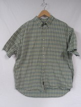 ABERCROMBIE & FITCH Green Yellow Plaid Shirt Large Button front Short Sl... - $15.84