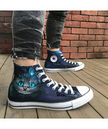 Cheshire Cat Converse All Star Sneakers Hand Painted Shoes Alice in Wond... - $145.00