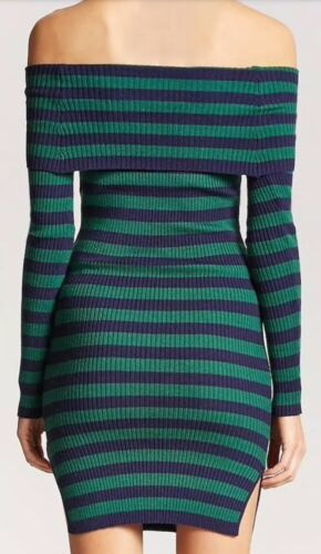 Forever 21 Ribbed Rib Off The Shoulder Midi Dress Navy Blue Green Stripe S NEW