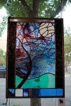 Stained Glass Window Panel Moonlit Tree blue purple green black - $196.02