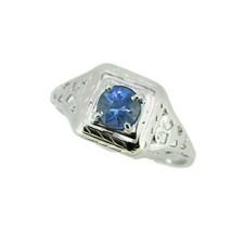 18k White Gold Filigree .53ct Blue Genuine Natural Sapphire Ring (#J4524) - $825.00