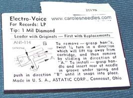 NEEDLE for Electro-Voice, EV 122 Sonotone 3P-1S Astatic N313-1d 1s 360-D1 image 2