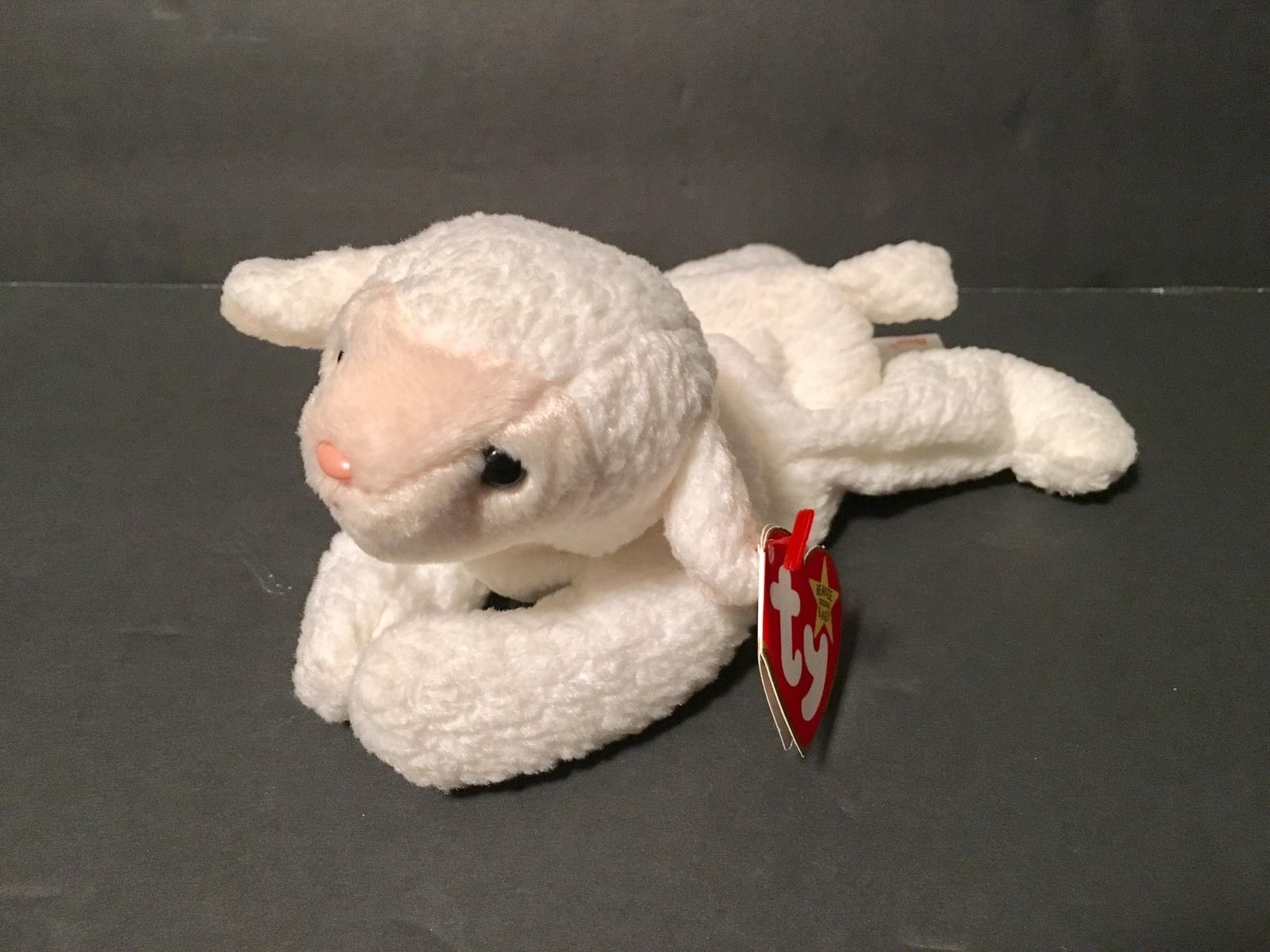 Ty Beanie Babies Plush Beanbag Fleece the Lamb Sheep White Pink Nose