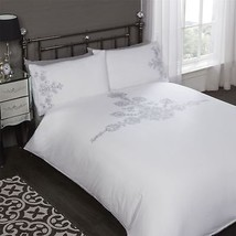 EMBROIDERED FLORAL SEQUINS WHITE COTTON BLEND SINGLE 5 PIECE BEDDING SET - $65.49