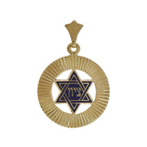 Blue Enamel Star of David Filigree Zion Pendant 14K Yellow Gold - $98.01