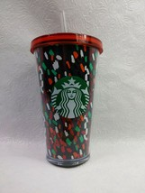 Starbucks Confetti Cold Cup 16 oz Acrylic Tumbler Holiday 2019 Christmas - $11.88