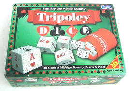 Tripoley Dice The Game Of Michigan Rummy Hearts And Poker Cadaco Vintage - $21.95
