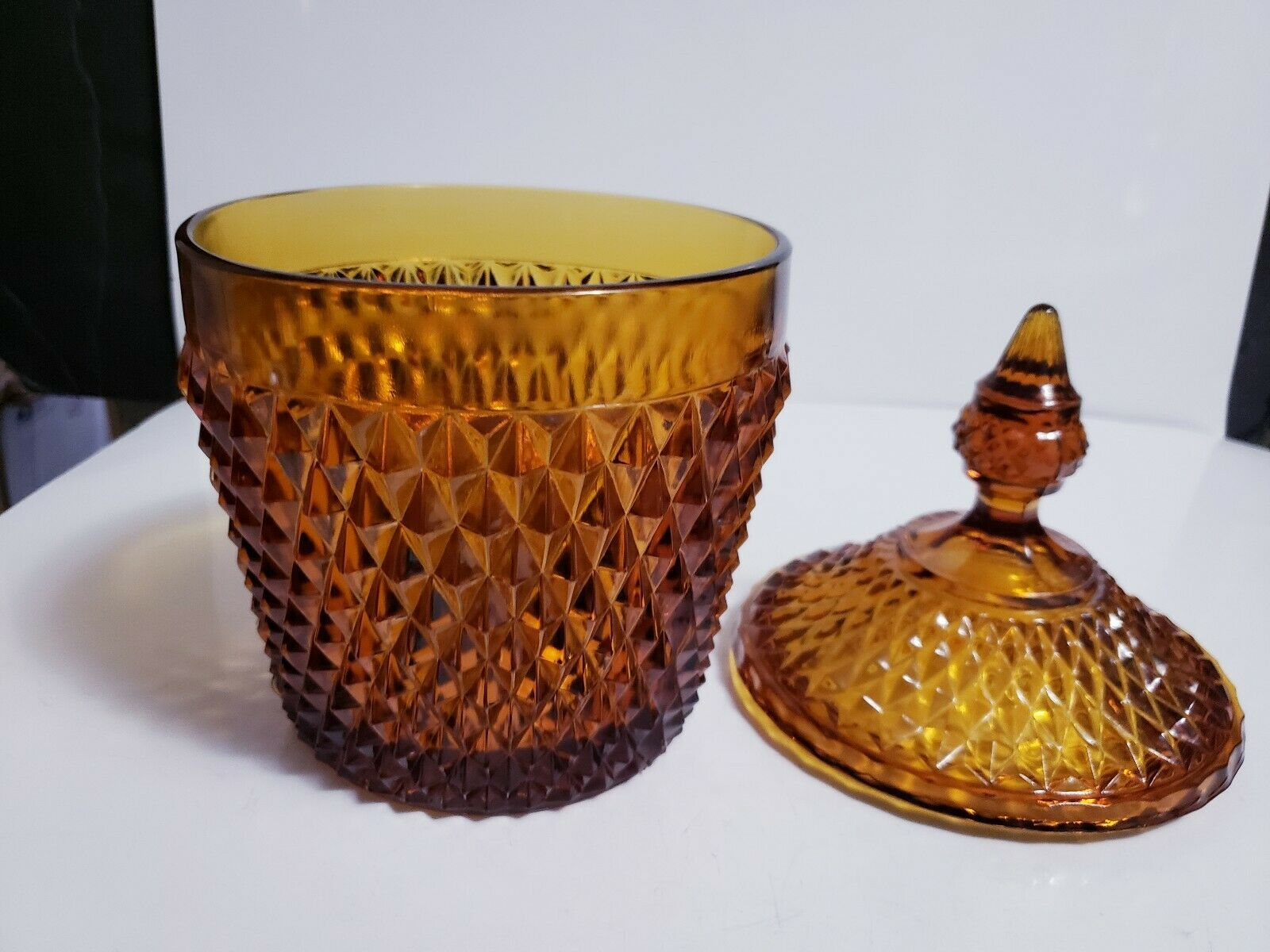 Vintage Diamond Point Amber Indiana Glass Ice Bucket Biscuit Jar with Lid