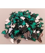 Bag of 275 Vintage Green Christmas Tree Craft Gems Jewels Rhinestones Ca... - $24.74