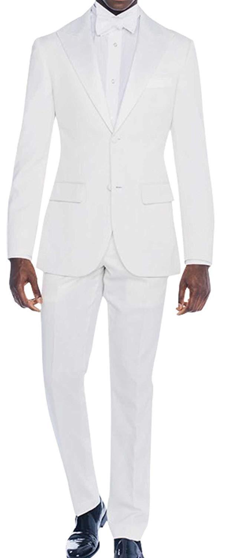 Mens white 2 piece slimfit wedding tuxedo