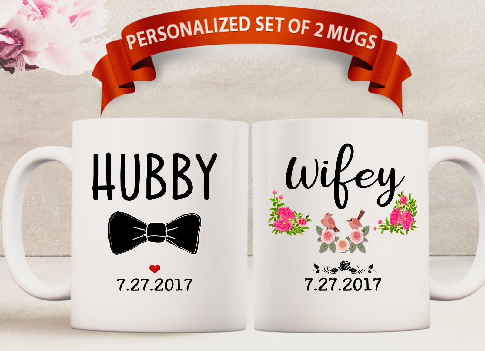 Personalized Custom Hubby or Wifey Sublimation Mug Mug Hubby Wifey Mugs Coffee Sublimation Mug