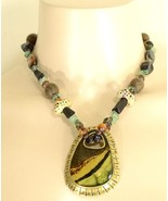 1 Chico's necklace pendant statement brown aqua silver gold beads stones - $19.79