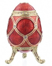 Faberge red egg trinket box hand made by Keren Kopal with Austrian cryst... - $49.50