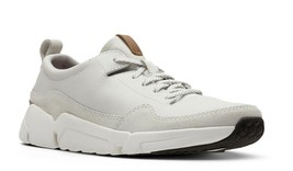 Mens Clarks Triactive Run Lace Up Sneakers - White Nubuck [26132277] - $92.99