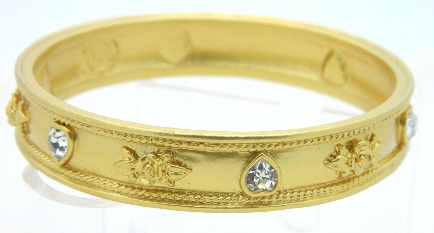 Elizabeth Taylor Avon LOVE BLOOMS Roses & Hearts 22K GP Vintage Bangle Bracelet