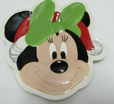 """Minnie Mouse Disney Ceramic Serving Plate Christmas 10"""" x 10"""" Flaw Chip ... - $22.74"""