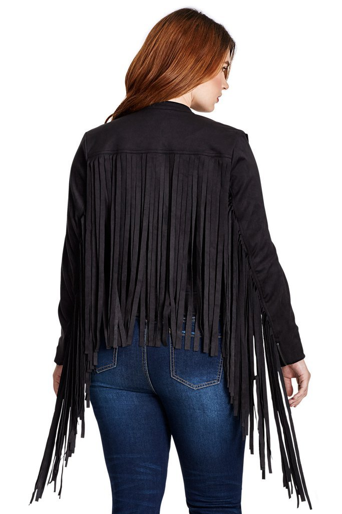 QASTAN Women's Black/Maroon Long Fringe Suede Cow Leather Jacket WWJ12 image 2