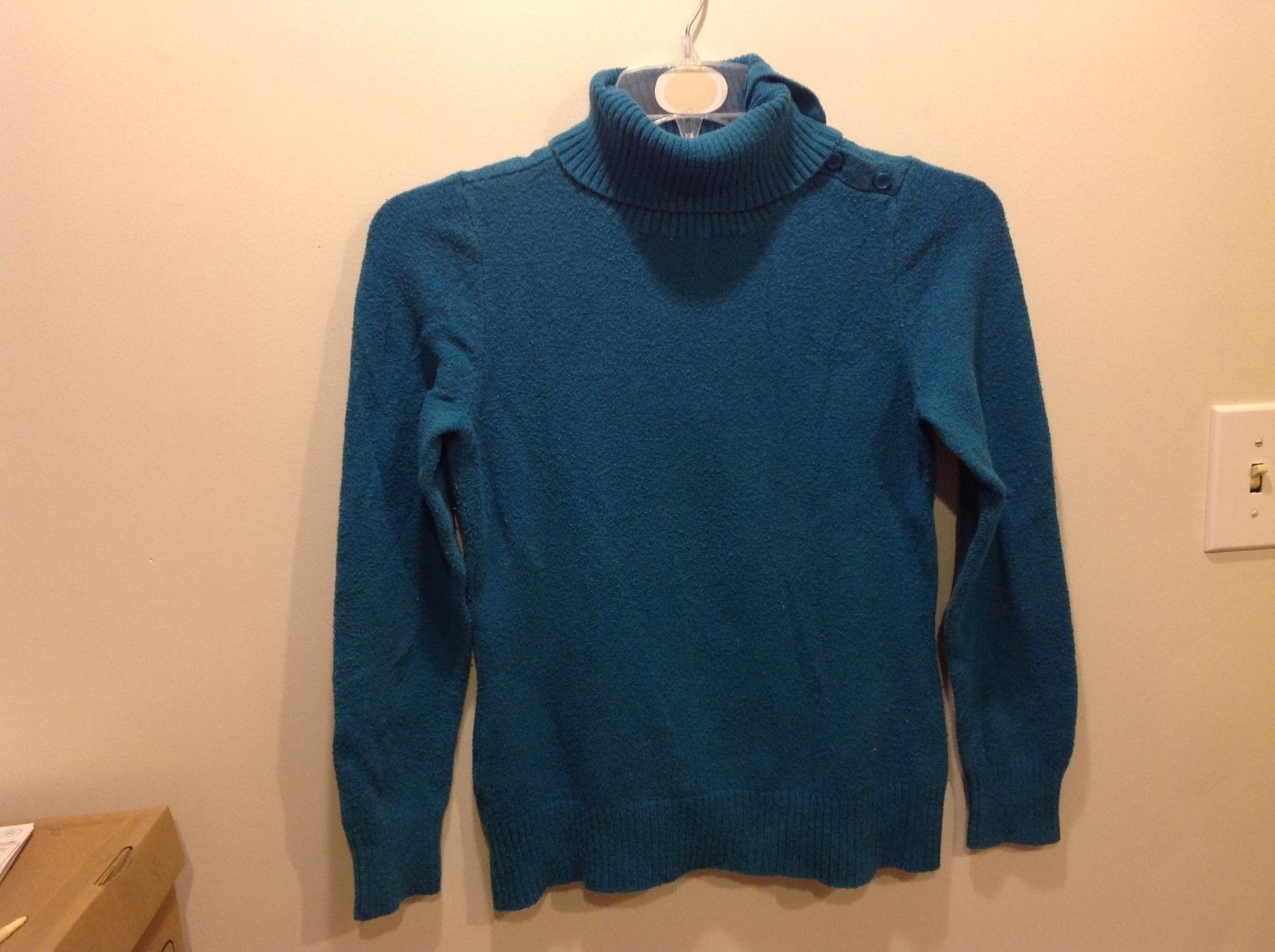 St John's Bay Sea-Toned Teal Turtleneck Sweater w Neck Buttons Sz Medium