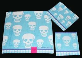 3 Betsey Johnson Crazy Skulls Aqua Blue Bath/Hand/Wash Cloth Towels Set Nwt - $39.99