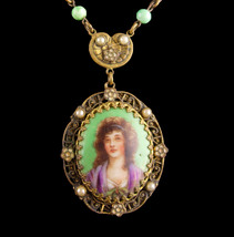 Antique PORTRAIT necklace- Victorian handpainted French beauty - peking ... - $465.00