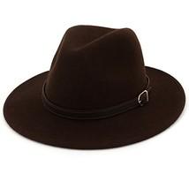 Lisianthus Women's 100% Wool Fedora Panama Hat Wide Brim with Belt Coffee - $18.18