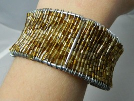 Vintage Gold & Brown Tone Glass Beaded Cuff Bracelet - $8.91