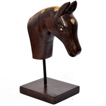 Real Wooden Colored Horse Statue Hand Collectible Figurine and Sculpture  - $68.95