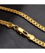 18K Gold Plated Chain Necklaces for Mens Kids Stainless Steel Curb Link ... - $7.79