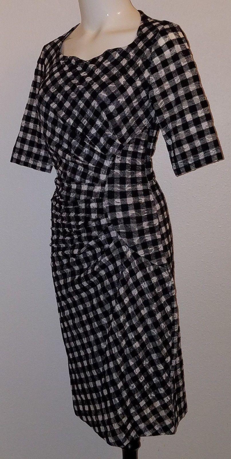 Maeve Anthropologie Black White Plaid Dress Size 2 Career Semi-Sheer Lined