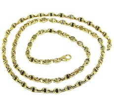 """18K YELLOW WHITE GOLD CHAIN SAILOR'S NAUTICAL MARINER BIG OVAL 4mm LINK, 24"""" image 1"""
