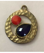 "Vintage Necklace Pendant Round Gold Outer W/ Red & Royal Blue Stone 1"" D... - $3.33"