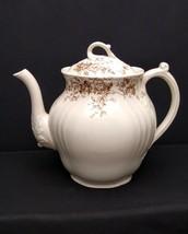Antique Vintage Ironstone Cream & Brown Transferware Teapot Longport Eng... - $29.95