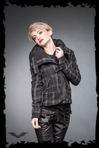Queen Of Darkness Grey Black Plaid Fall Coat Punk Tartan Winter Jacket - $70.78