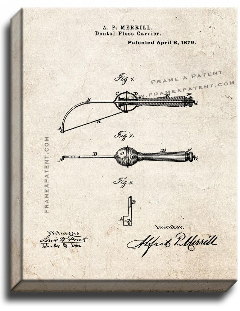 Primary image for Dental Floss Carrier Patent Print Old Look on Canvas