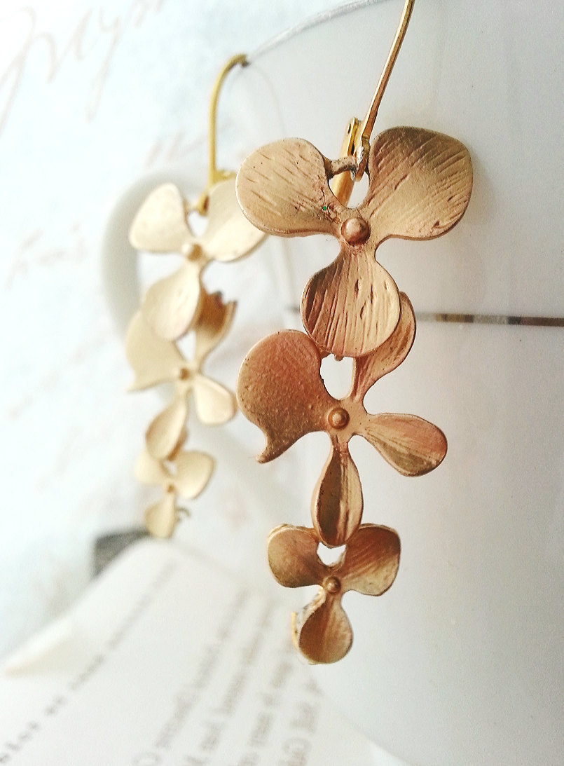 Matte Gold Orchid Trio Earrings Gold Orchid Earrings Bridal Earrings Bridesmaid