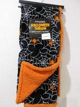 Halloween Adirondack Berkshire Spider Web Orange SHERPA Throw Blanket 50x60 - $26.99