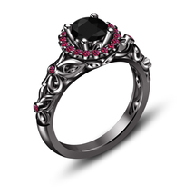 Womens Black Diamond Designer Engagement Ring 14k Black Gold Finish 925 ... - £60.32 GBP
